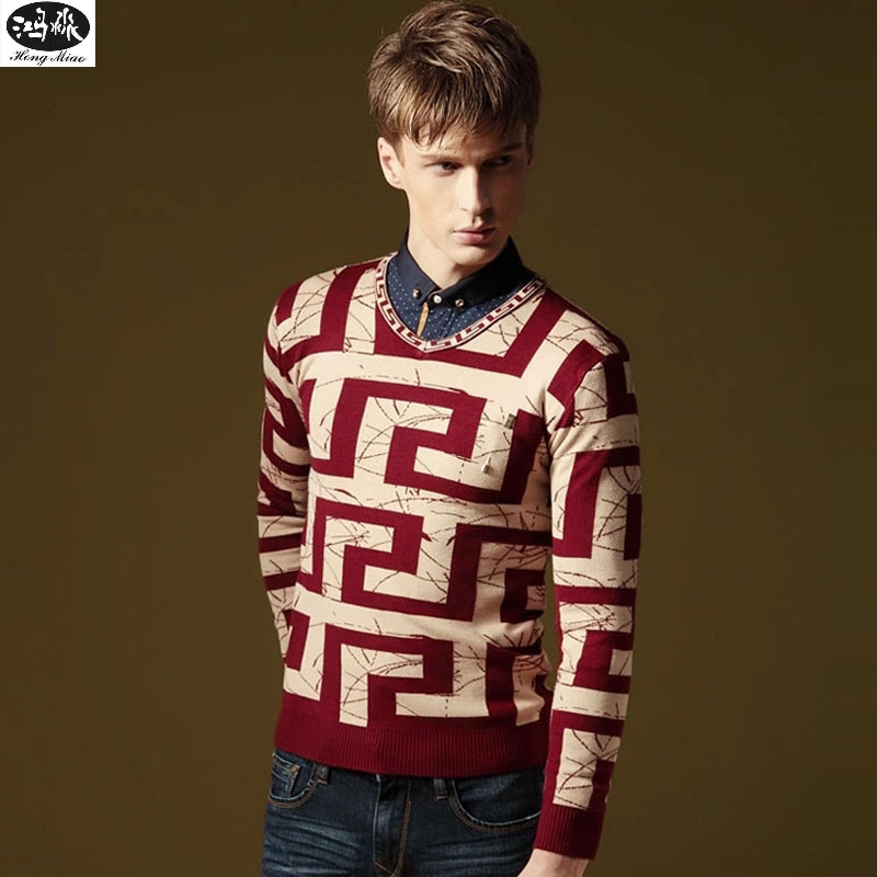 Autumn Sweater New Men V-neck Geometric Long-sleeves Knitted Casual Pullovers High Quality Simple Tops