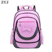 ZYJ девочек Начальная Школа Рюкзаки Детские кожаные бантом дети студент рюкзак фиолетовый рюкзак Популярные Mochila сумка