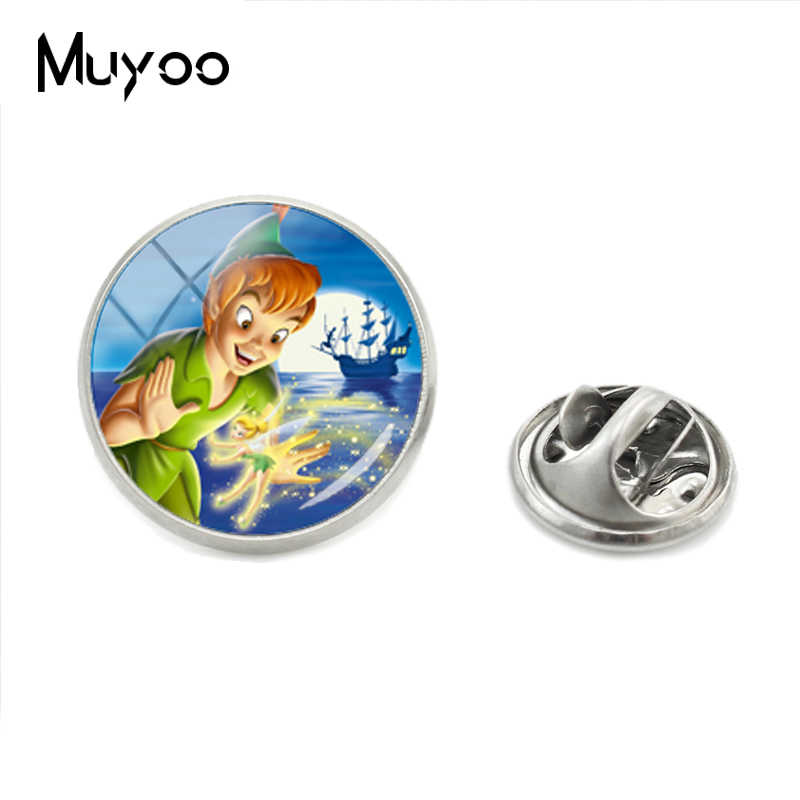 2018 New Hot Selling Lovely Style Peter Pan Role Jewelry Brooch Pins Peter Pan Anime Glass Round Cabochon Lapel Pins Jewelry