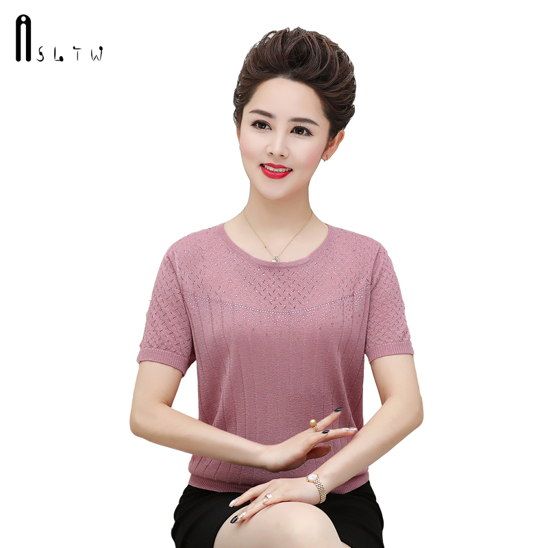 ASLTW T Shirt Female New Summer Short Sleeve Harajuku Solid Hollow Thin Tops Plus Size Women Clothes 2019 Women Tshirt