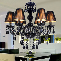 2017 New American Retro Candles Black Modern Crystal Chandelier 110v 220v Fashion Chandeliers For The Bedroom