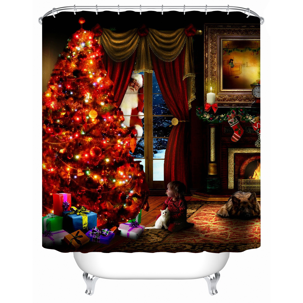 2016 New Waterproof Fabric Shower Curtain Christmas Tree Eco Friendly High Quality Shower