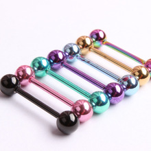 5pcs/Lot Fashion Surgical Steel Mixed Colors Tongue Tounge Rings Bars Barbell Tongue Piercing Body Jewelry