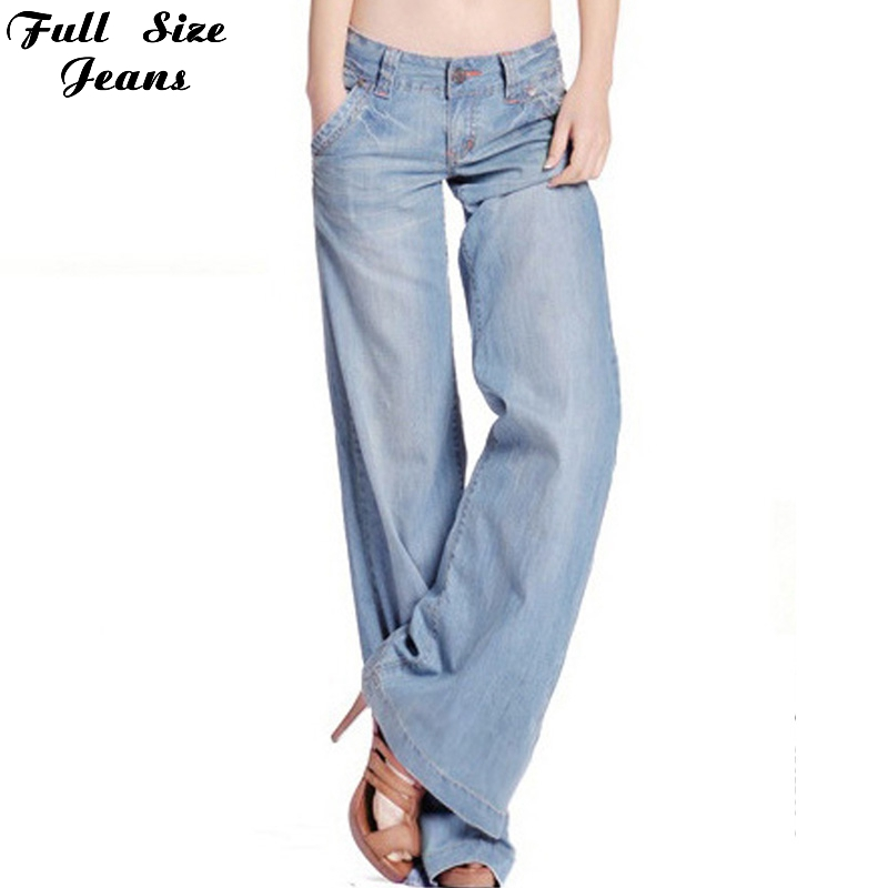 ФОТО 2017 New Design Fall Boyfriend Loose Light Blue Jeans Plus Size Wide Leg Denim Jeans 4Xl 34 High Waist Bell Bottoms Pants Women