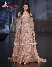 Luxus A-linie Stickerei Lange Applique Abendkleid Elegante Spitze Perlen Kristall Abendkleid Mit Jacke Cape e15