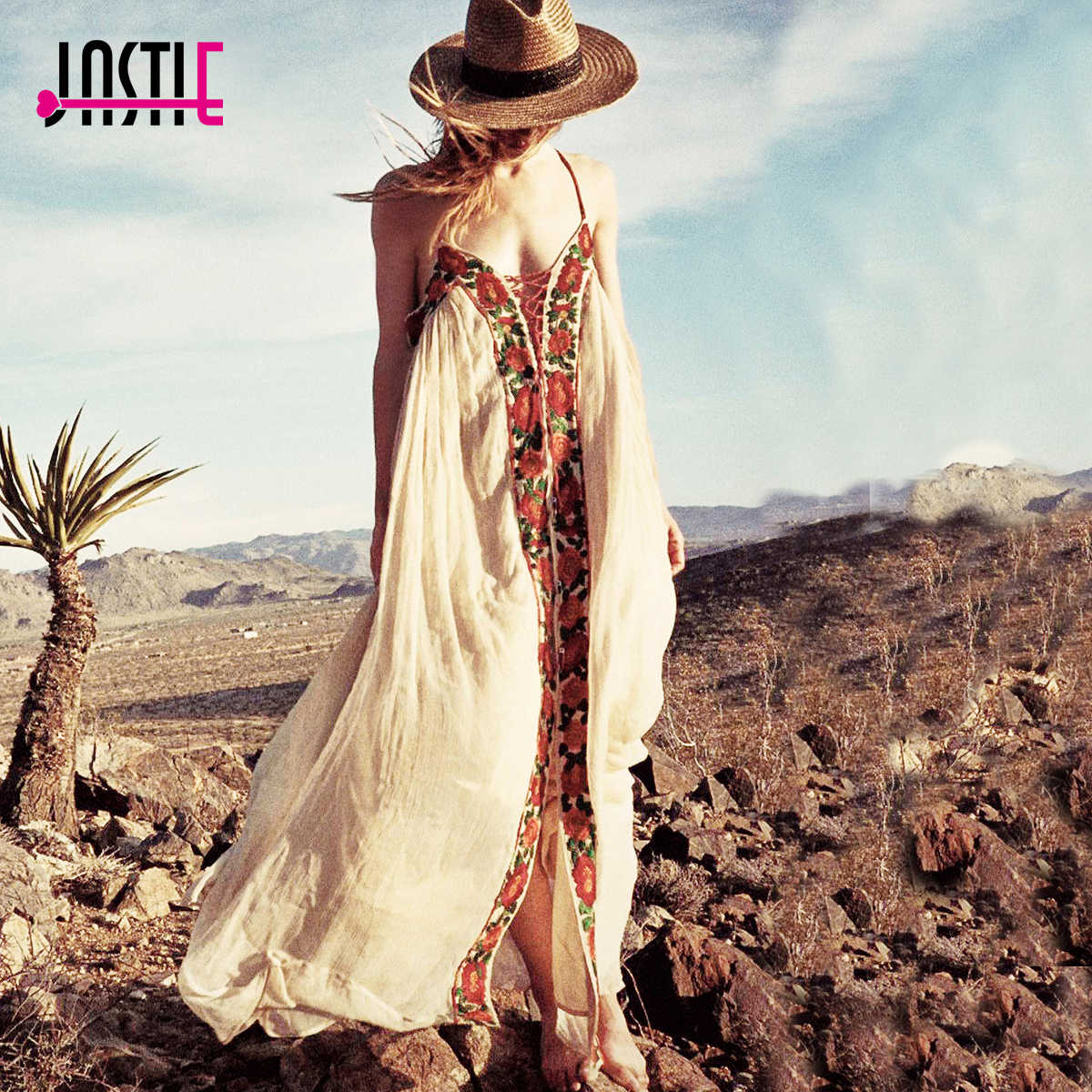 48701be7e84 Jastie Free-Flowing Maxi Dress Floral Embroidery Boho Dress V-Neck Lace-Up