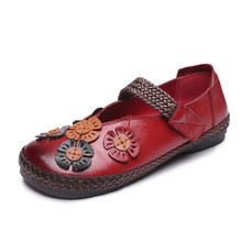 New leather ethnic style retro flat shoes spring and autumn fashion wild embroidered womens Sell well soft casual