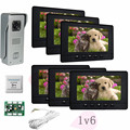 1v6 Apartment Color Video Intercom/Intercom System With Weatherproof/Night Vision/Unlock/Monitor/Video Function Free Shipping