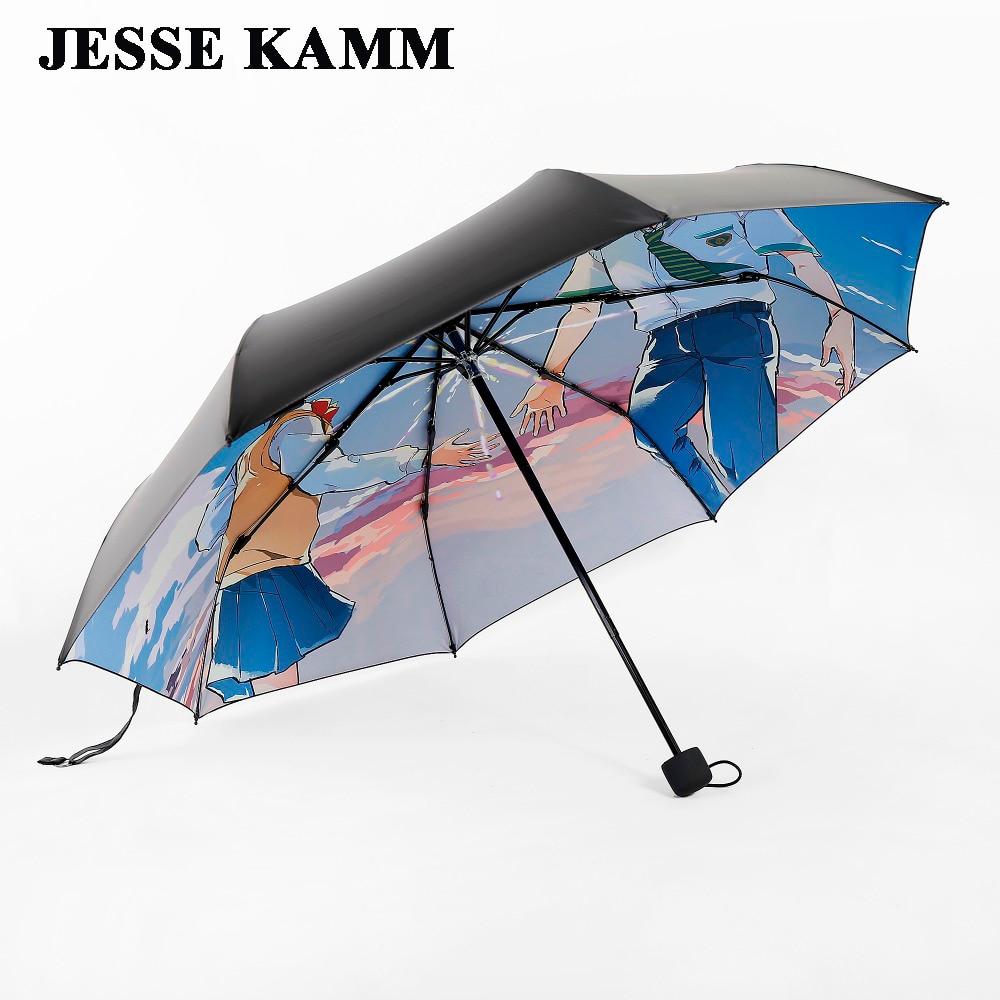 자동 열기 콤팩트 세 접는 비 여행 강한 프레임 우산 남성 여성 여성 남성 우산