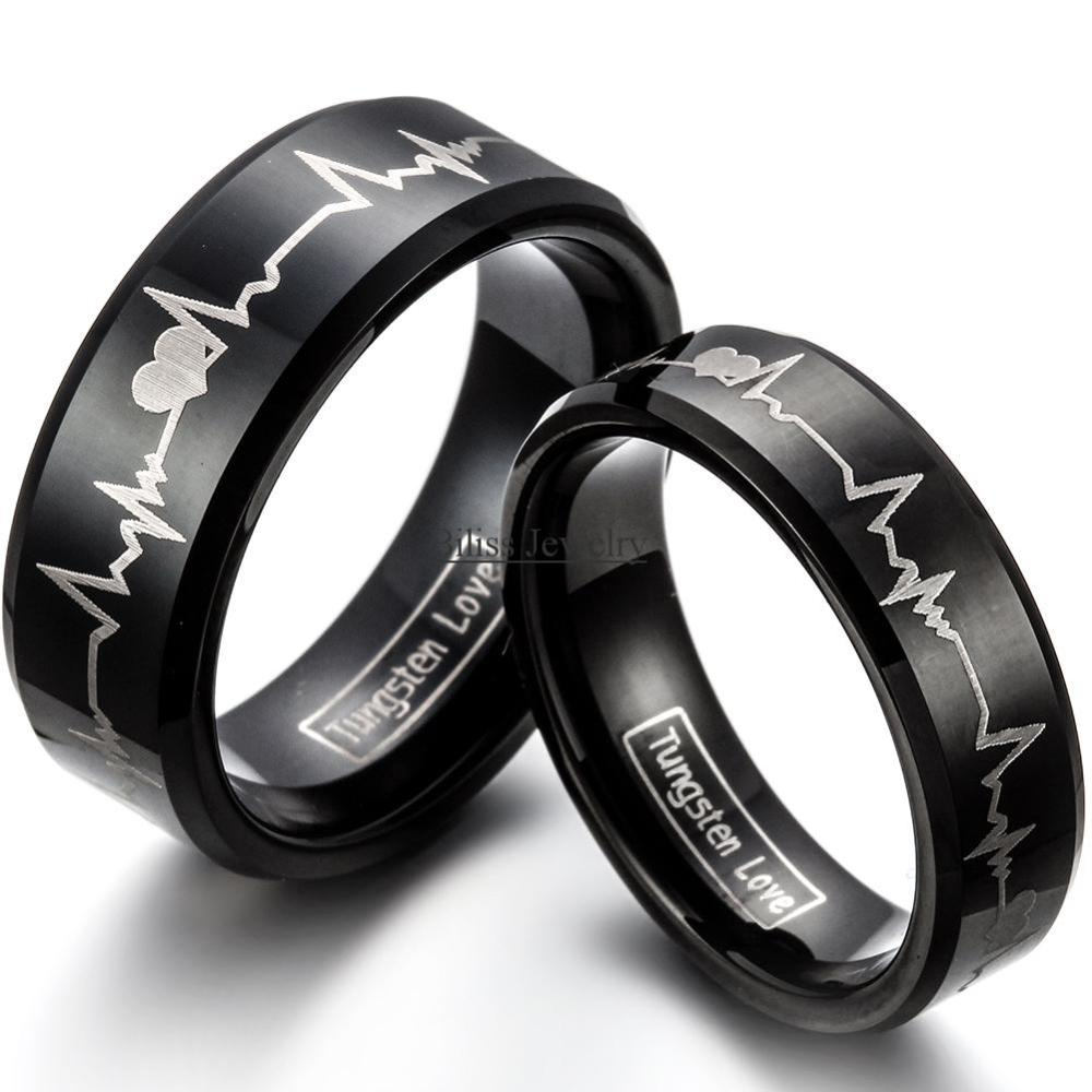 Fashion Black Tungsten Carbide Ring With Laser Engraved Forever Love Men Women Wedding Rings Size 4-17 -blue-8mm/red-6mm -1PCS with love hair 6a 13 4 withlove20150201