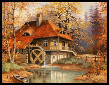 2016 Needlework,DIY DMC 14CT Cross stitch Kit,  decorative Mill Autumn Pattern Embroidery Cross-stitch Painting Home Decor New