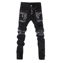 New fashion skinny leather pants faux leather motorcycle jeans trousers free shipping 28 34 (small size)A108