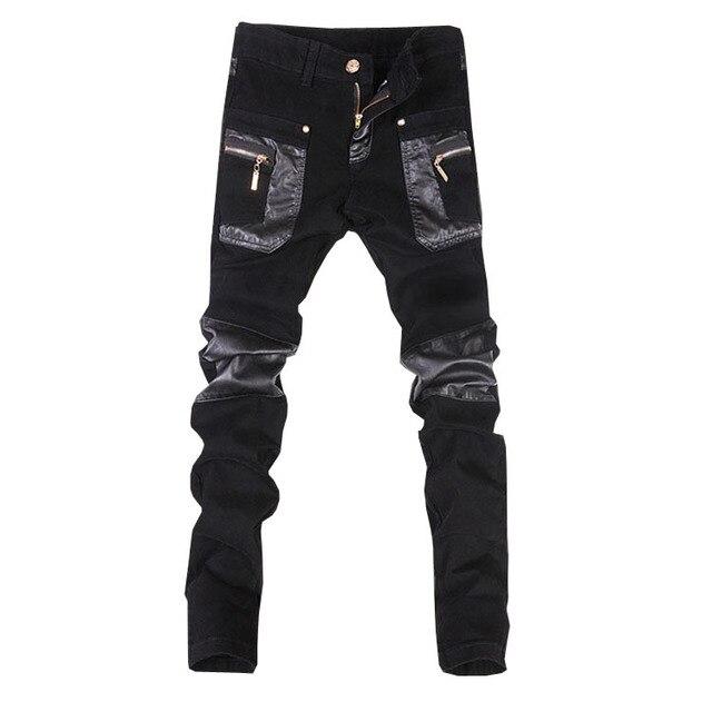 Nowe mody skinny spodnie skórzane faux skórzane dżinsy motocyklowe spodnie darmowa wysyłka 28 34 (mały rozmiar) A108