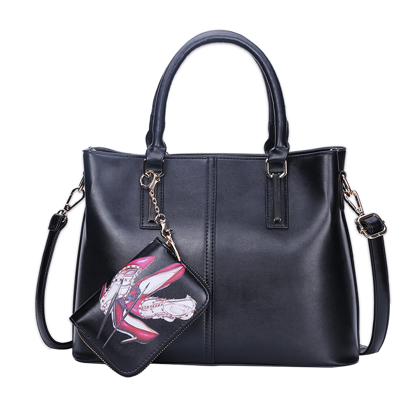 Solid Elegant Women Handbag PU Leather Shoes Print Casual Ladies Composite Bag Large Capacity Crossbody Messenger Bags