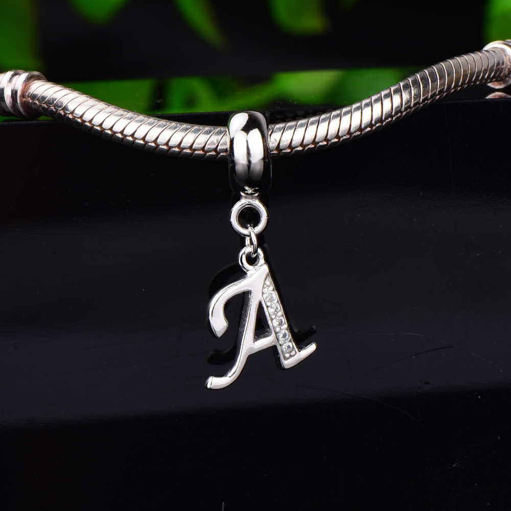 RainMarch Fits Pandora Charms Bracelet Original 925 Silver Charm Letter Pendant Alphabet Beads DIY Accessories Jewelry Wholesale
