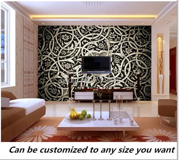 € 14.0 47% de réduction|Livraison gratuite personnalisé 3D Oriental  carrelage Mural moderne mural papier peint TV réglage mur de salon chambre  ...
