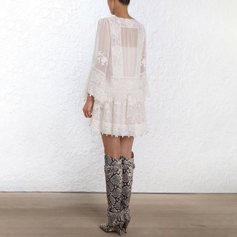 Manches Printemps 2019 Solides Femmes Zim Dentelle Robe Mini Broderie Flare w0qCScU5x