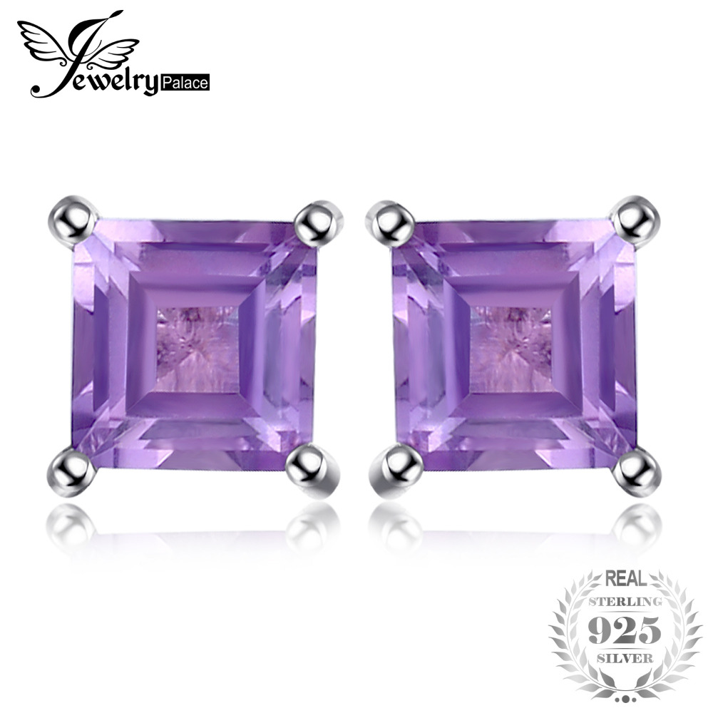 JewelryPalace Square 0.6ct Natural Amethysts Stud Earrings Solid 925 Sterling Silver High Quality Charm Purple Earrings Girls