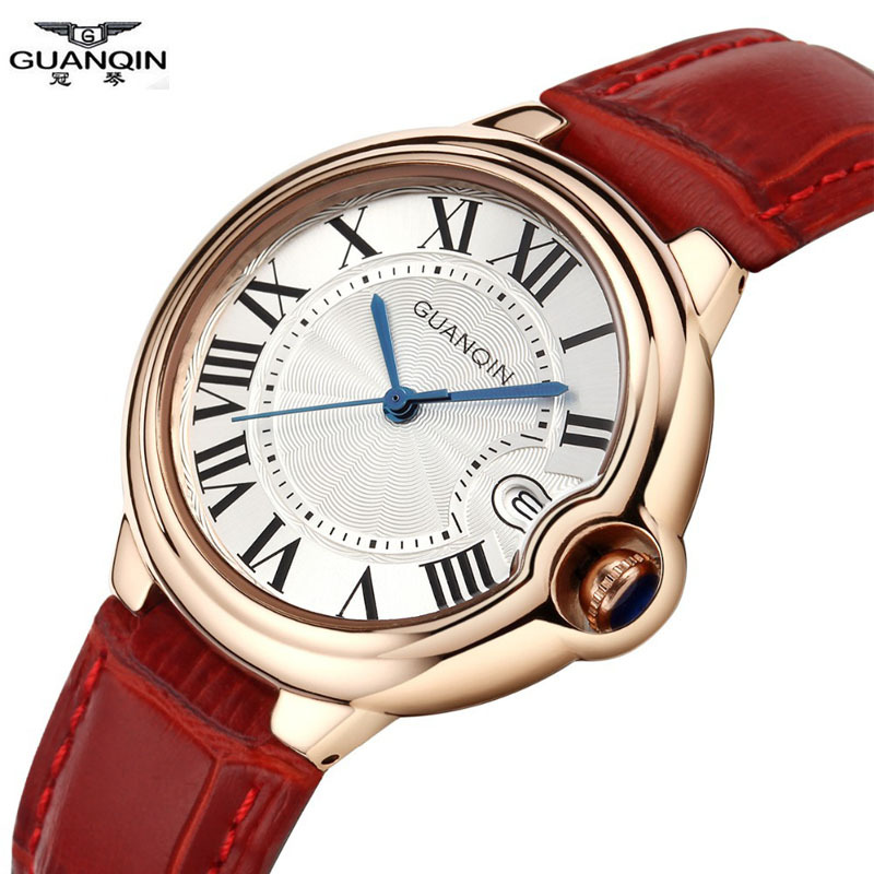 ФОТО Watches Women GUANQIN Luxury Brand Fashion Dress Quartz-Watch Waterproof Leather Watchbands Relogio Feminino 2016 Montre Femme