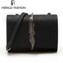 Herald Fashion Leaves Decorated Mini Flap font b Bag b font Suede PU Leather Small font