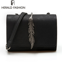 Herald Fashion Leaves Decorated Mini Flap Bag Suede PU Leather Small Women Shoulder Bag Chain Messenger