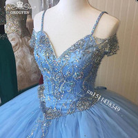 2020 Blue Tulle Quinceanera Dresses With Crystal Beads Spaghetti Off Shoulder Long Ball Gown Prom Dress Pageant Vestidos De 15