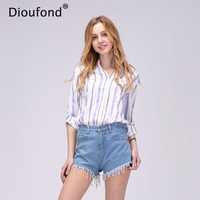Dioufond Chiffon Red Female Blouse Shirt Causal Summer 2017 Girls White Blouse Women Striped Shirt Blusas Cute Loose Shirts Tops