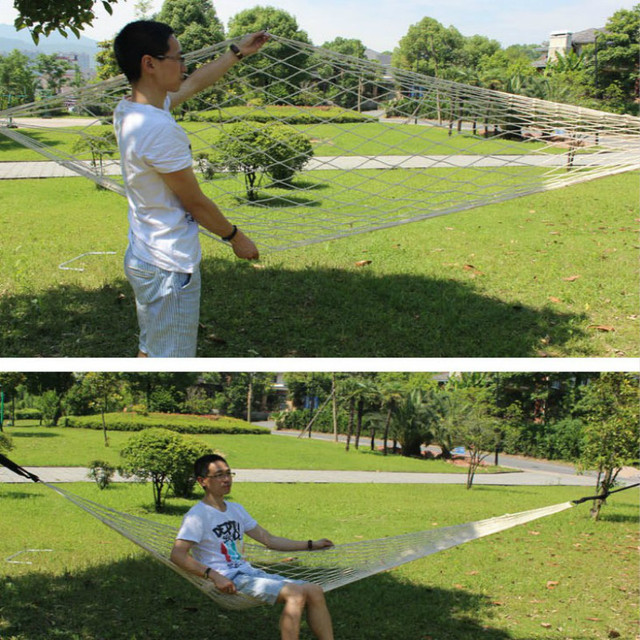 Outdoor Net Hammock Ultralight Portable Nylon Mesh Cotton Rope Adult Camping/ Dormitory Swing Thickening Durable Hammock Chairs