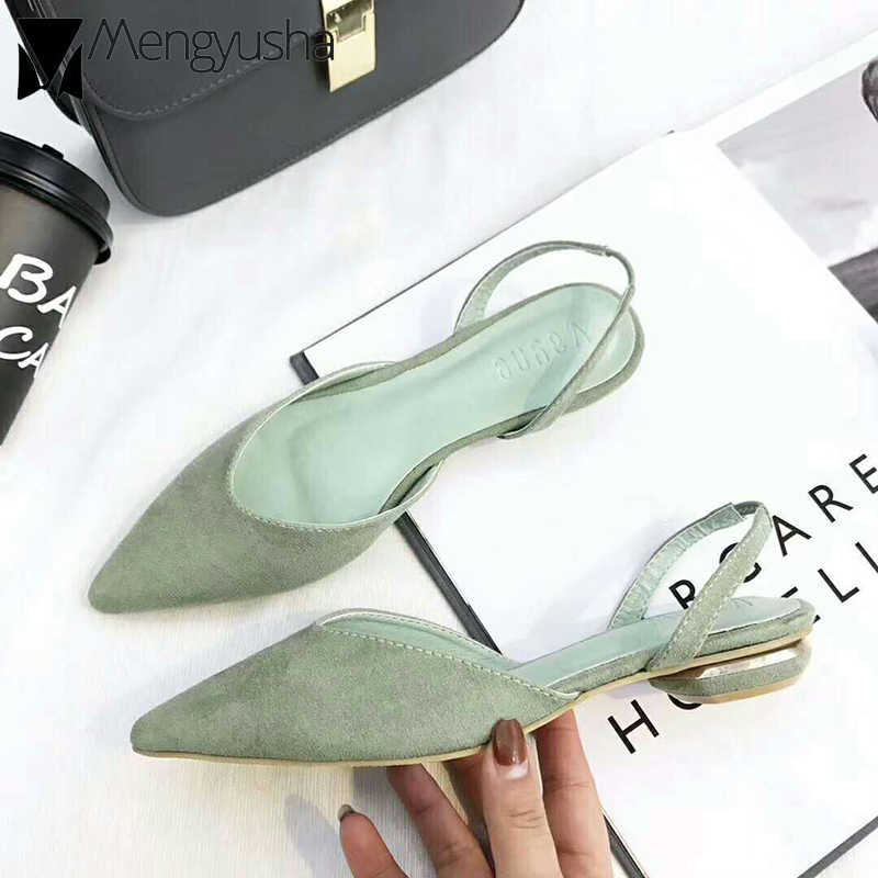 Korean Closed toe slingback woman back strap cutout flat mules shoes woman brief pointy suede soft sandalens summer loafers lady