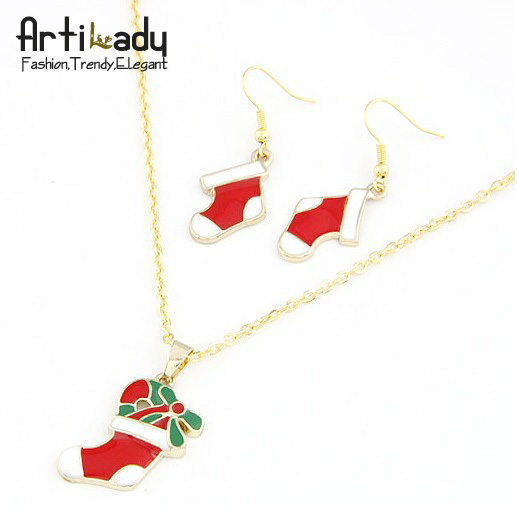 Artilady Christmas gift jewelry gold plated  socks christmas jewelry set necklace earrings set