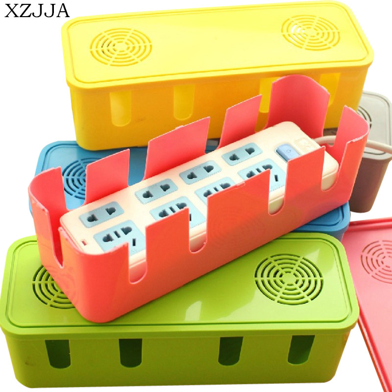 XZJJA High Quality Power Cord Socket Storage Box Cable Organizer Heat Emission Hole Box Dustproof Safety Accessories