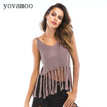 Yovamoo Knitted Vest Camisole Women Streetwear Summer Europe 2018 Short Design Crochet Hollow Out Tassel Sleeveless Sexy Top