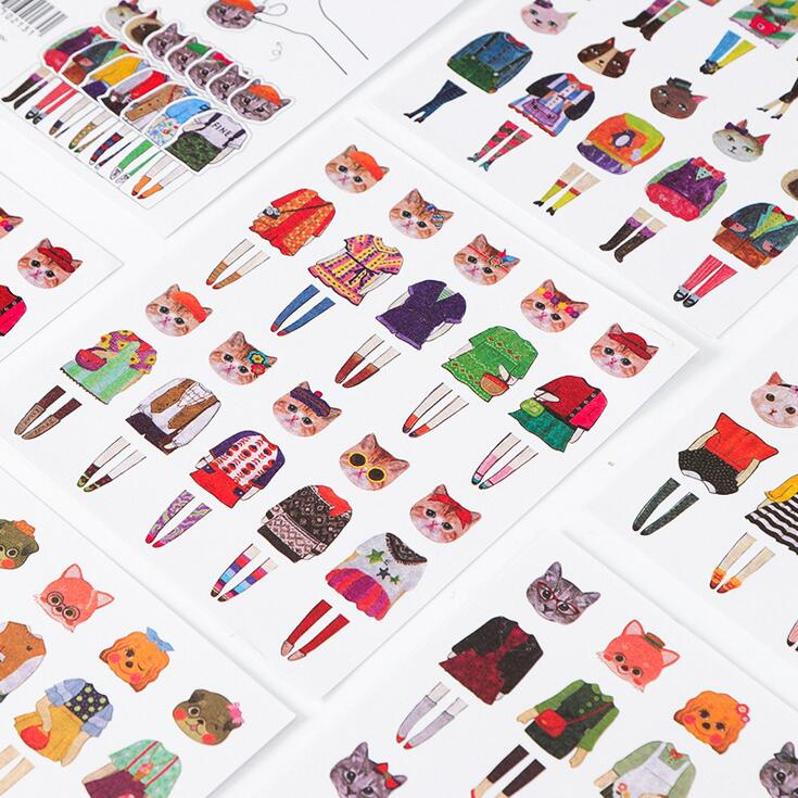 5 pcs/pack Dog And Cat Change Clothing Collocation Decorative Stickers Scrapbooking Stick Label Diary Stationery Album Stickers spring and fall leaves shape pvc environmental stickers decorative diy scrapbooking keyboard personal diary stationery stickers