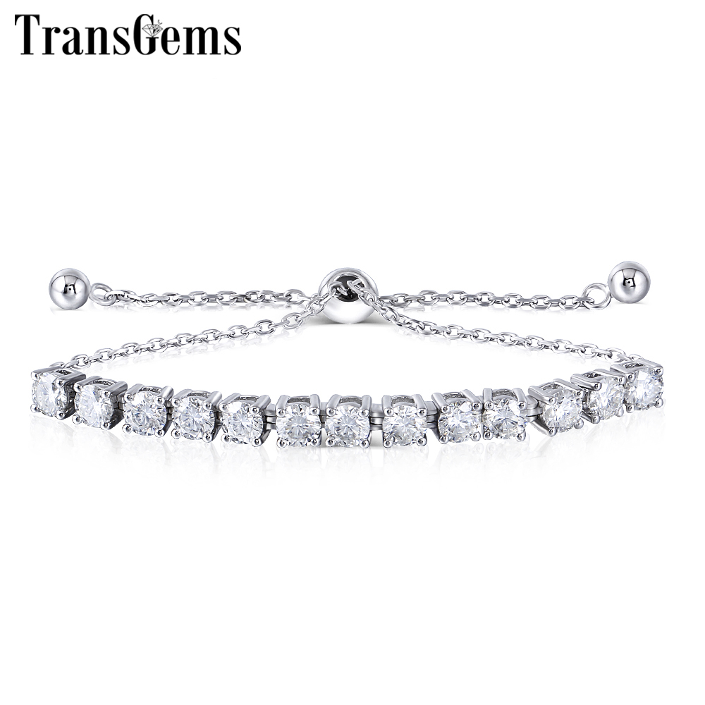 Transgems Platinum Plated Silver Sterling 925 4MM GH Colorless Moissanite Bracelets for Women Gift Adjustable Tennis Bracelets