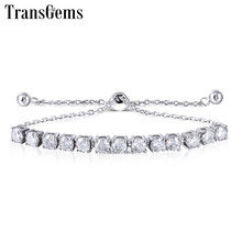 Transgems  Silver Sterling S925 4MM GH Colorless Moissanite Bracelets for Women Gift Adjustable Tennis Bracelets