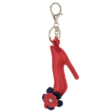 New PU Artificial leather red Flower high heels styling bell alloy key chain buckle pendant girl bag car small Gift