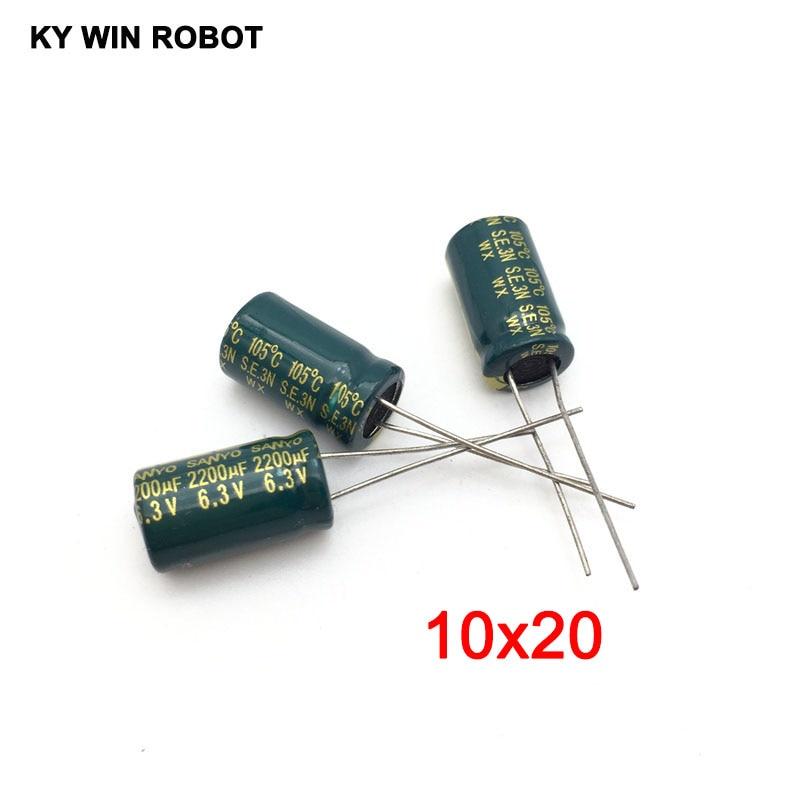 10 Pcs Aluminum Electrolytic Capacitor 2200 UF 6.3 V 10 * 20 Mm Frekuensi Tinggi Radial Electrolytic Kapasitor