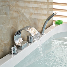 Chrome Brass Finish 5 Pcs Waterfall Bathtub Sink Tap Bathroom Mixer Hand held Shower Faucet Set