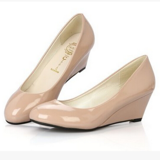 Women in The Summer of 2016 The New Patent leather Nude Wedges ...