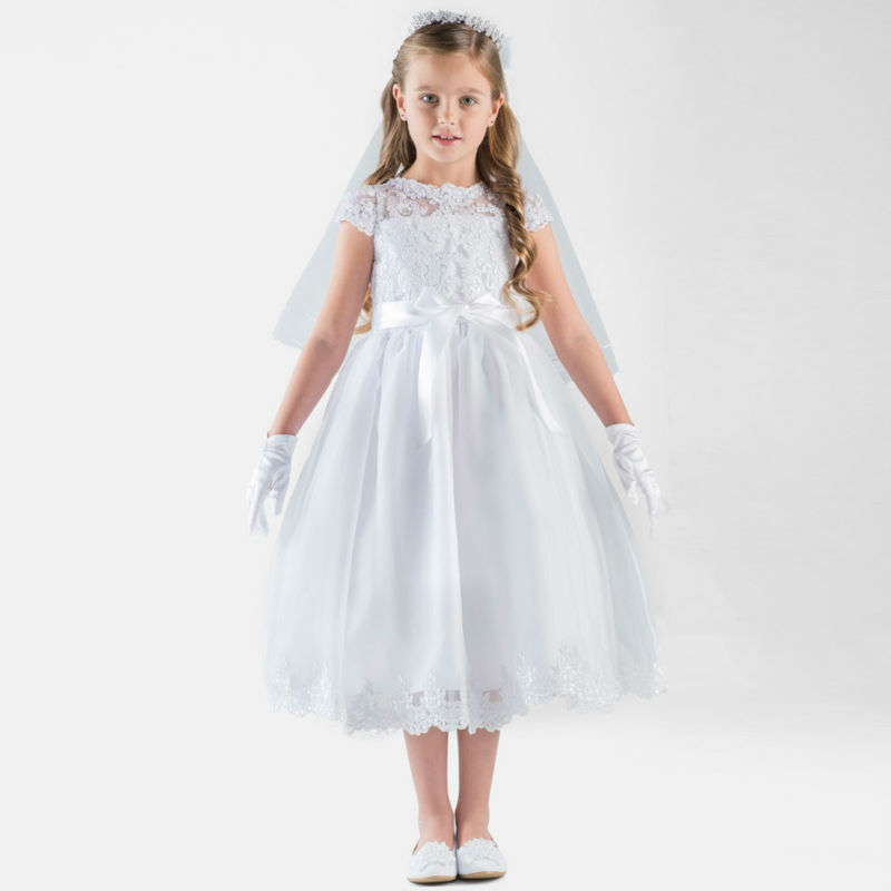 White New Flower Girls Dresses For Wedding Gowns Lace Kids Pageant Dresses A-Line First Communion Dresses for Girls With Sashes blue pageant dresses for little girls a line spaghetti straps solid appliques crystal lace up flower girl first communion gowns