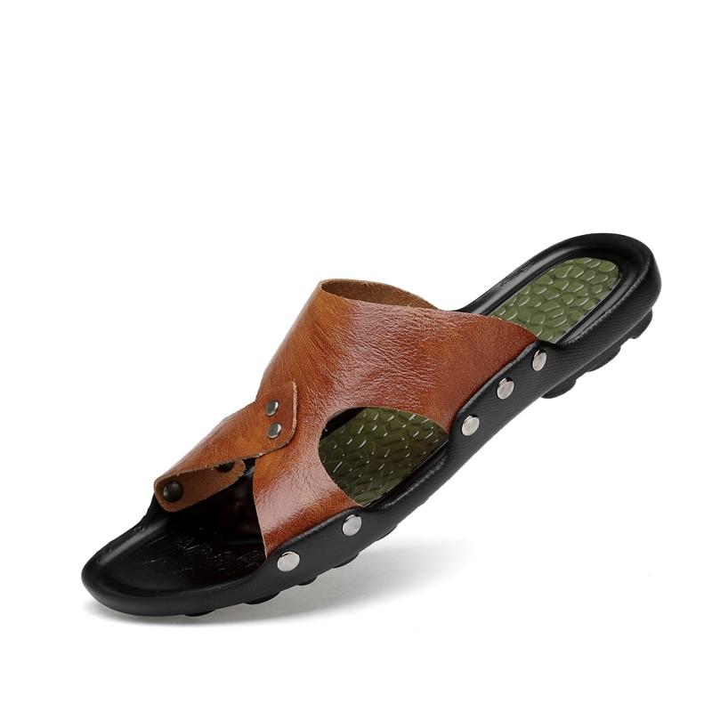 Männer Hausschuhe Lässig Leichte Indoor Outdoor Sommer Mann Sandalen Walking Braun Schwarz Männlichen Mode Weichen Leder Turnschuhe