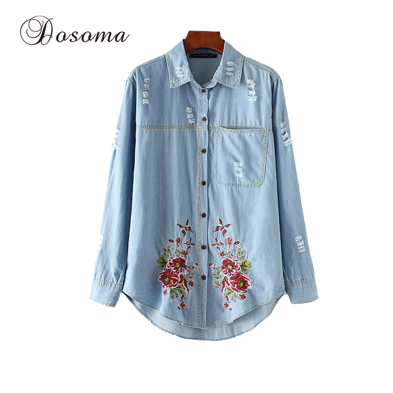 Vintage Flower Embroidery Denim Shirt Women 2017 Spring