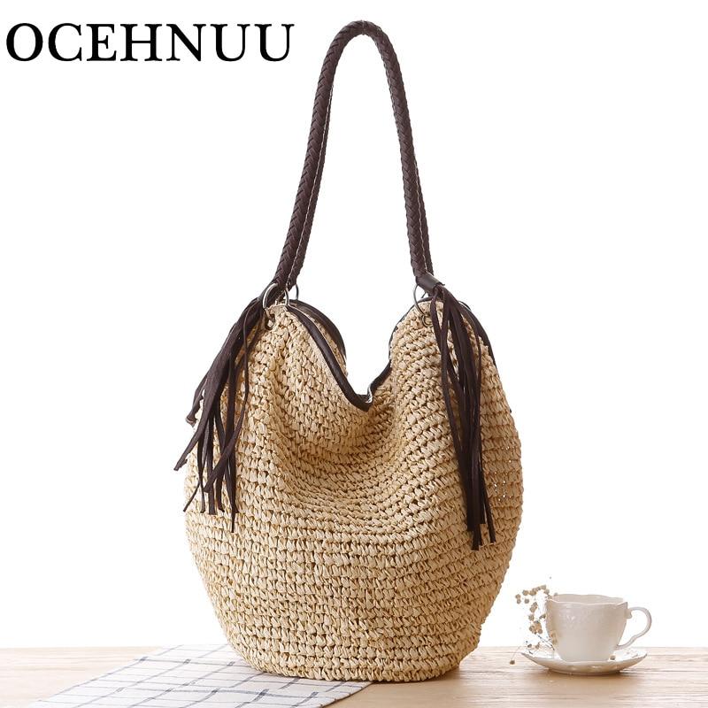 OCEHNUU Big Straw Beach Bags Women Handbags Summer Fashion Female 2017 Casual Women's Bags Shoulder Bag Tassel Zipper Bolsas beige tassel detail straw shoulder bags