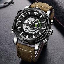 Megir relojes de cuarzo de zona horaria múltiple para hombre, cronógrafo Digital, de pulsera, correa de cuero, luminoso, 2089G, plata, negro