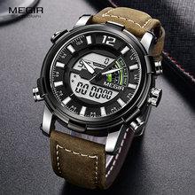 Megir الرجال متعددة المنطقة الزمنية ساعات كوارتز الرقمية كرونوغراف ساعة معصم للرجل جلد حزام مضيئة 2089 جرام الفضة الأسود