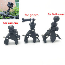 Pour Gopro accessoires guidon montage trépied adaptateur vélo vélo moto 1 pouce balle montage pince pour Gopro Ram montage téléphones