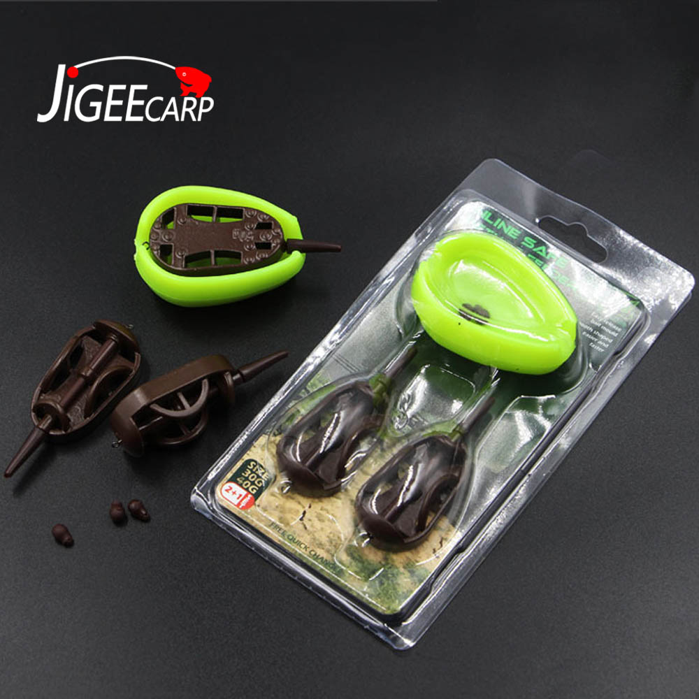JIGEECARP 1 Set Fishing Inline Safe Flat Method Feeder Set With Bait Moulds Spare Inserts Carp Fishing Tackle Brown 30g 40g 50g