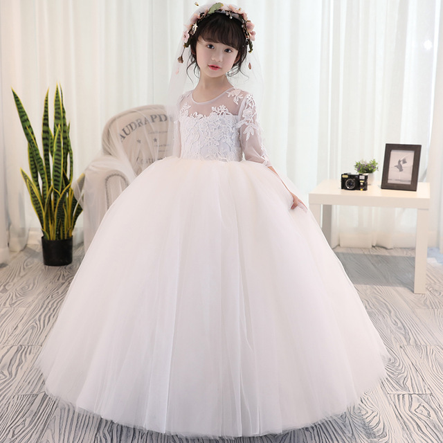 Girls Clothing Flower Wedding Dress Tutu Maxi Patry Ball Gown Photography Evening Prom 2