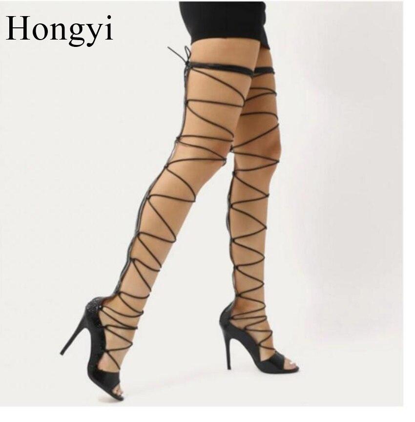 Hongyi Hot Sale Dress Shoes Women Open Toe Thin High Heeled Sandal Botas Lace Up Over the Knee Boots Summer Shoe Big Size