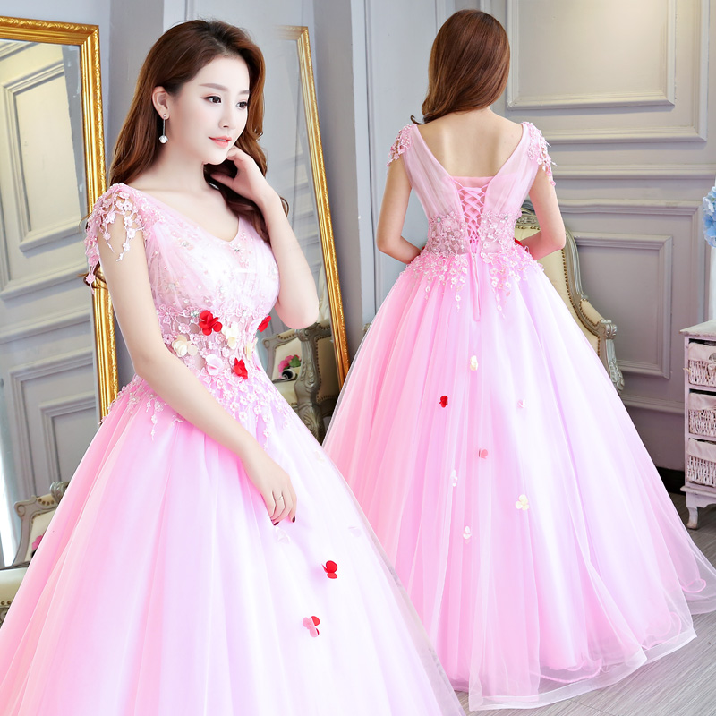 Bridal Long Party Gowns Vestido De 15 Anos De Cap Sleeve Lace Open Back Pink Beading Quinceanera Dressrobe De Quinceanera